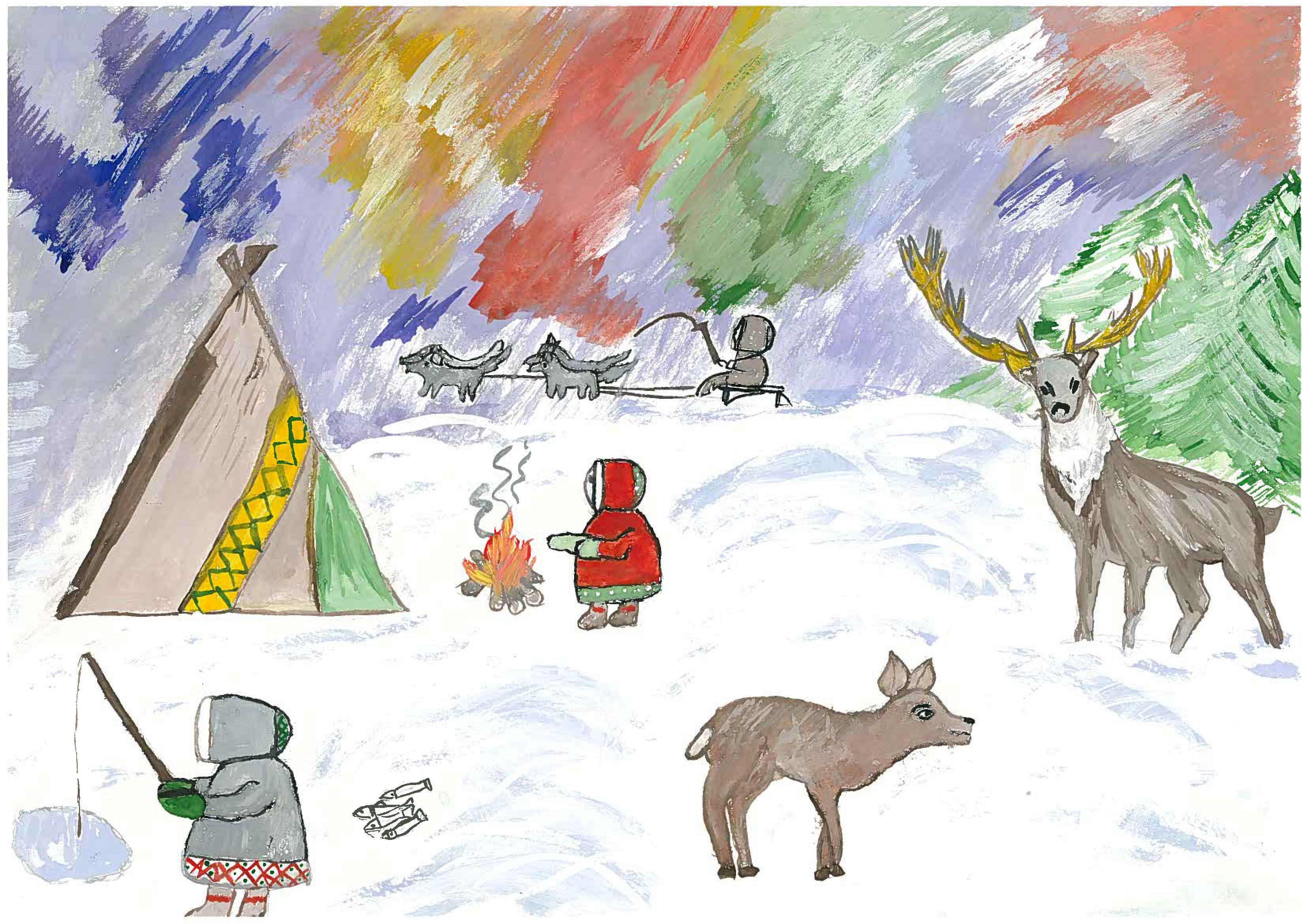 Север природа рисунки